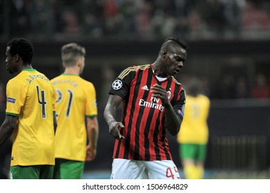 "Milan  Italy, 18 September 2013 ,"" G.MEAZZA SAN SIRO""  Stadium, UEFA Champions League 2013/2014, AC Milan - FC Celtic : Mario Balotelli during the match"