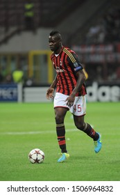 "Milan  Italy, 18 September 2013 ,"" G.MEAZZA SAN SIRO""  Stadium, UEFA Champions League 2013/2014, AC Milan - FC Celtic : Mario Balotelli in action during the match"