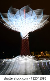 Milan 2015, shining moving light of the Tree of life at Milan Expo