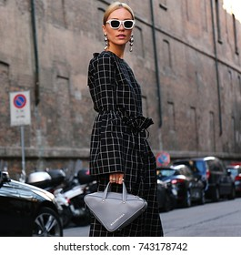 MILAN- 21 September 2017 Woman on the street during the Milan Fashion Week