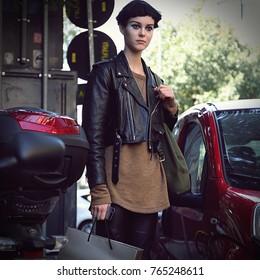 MILAN- 22 September 2017  Model on  the street during the Milan Fashion Week