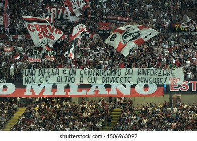"Milan  Italy, 28 August 2013 ,"" G.MEAZZA SAN SIRO""  Stadium, UEFA Champions League 2013/2014, AC Milan - PSV Eindhoven : Milan Fans before the match"