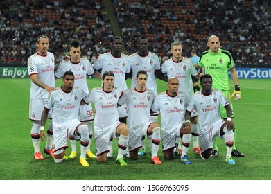 "Milan  Italy, 28 August 2013 ,"" G.MEAZZA SAN SIRO""  Stadium, UEFA Champions League 2013/2014, AC Milan - PSV Eindhoven : Milan players before the match"