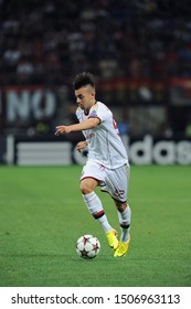 "Milan  Italy, 28 August 2013 ,"" G.MEAZZA SAN SIRO""  Stadium, UEFA Champions League 2013/2014, AC Milan - PSV Eindhoven : Stephan El Shaarawy in action during the match"