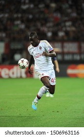"Milan  Italy, 28 August 2013 ,"" G.MEAZZA SAN SIRO""  Stadium, UEFA Champions League 2013/2014, AC Milan - PSV Eindhoven : Mario Balotelli in action during the match"