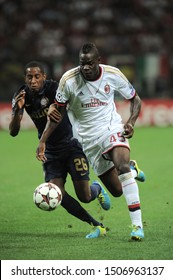 "Milan  Italy, 28 August 2013 ,"" G.MEAZZA SAN SIRO""  Stadium, UEFA Champions League 2013/2014, AC Milan - PSV Eindhoven : Mario Balotelli and Joshua Brenet in action during the match"