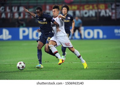 "Milan  Italy, 28 August 2013 ,"" G.MEAZZA SAN SIRO""  Stadium, UEFA Champions League 2013/2014, AC Milan - PSV Eindhoven : Stephan El Shaarawy and Joshua Brenet in action during the match"