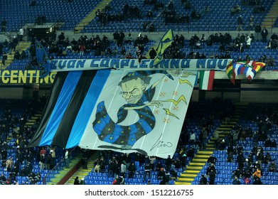 "Milan, 28 January 2010, Stadium ""G.MEAZZA SAN SIRO"", Football Championship  Italy Cup 2009/2010, FC Inter - FC Juventus: Inter fans with a choreography for Jose Mourinho's birthday"