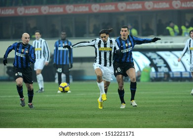 "Milan, 28 January 2010, Stadium ""G.MEAZZA SAN SIRO"", Football Championship  Italy Cup 2009/2010, FC Inter - FC Juventus: Amauri and Lucio in action during the match"