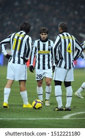 "Milan, 28 January 2010, Stadium ""G.MEAZZA SAN SIRO"", Football Championship  Italy Cup 2009/2010, FC Inter - FC Juventus: Diego, Amauri and Felipe Melo during the match"