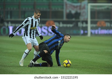 "Milan, 28 January 2010, Stadium ""G.MEAZZA SAN SIRO"", Football Championship  Italy Cup 2009/2010, FC Inter - FC Juventus: Thiago Motta and Antonio Candreva in action during the match"