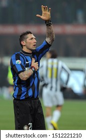 "Milan, 28 January 2010, Stadium ""G.MEAZZA SAN SIRO"", Football Championship  Italy Cup 2009/2010, FC Inter - FC Juventus: Marco Materazzi greets the fans at the end of the match"