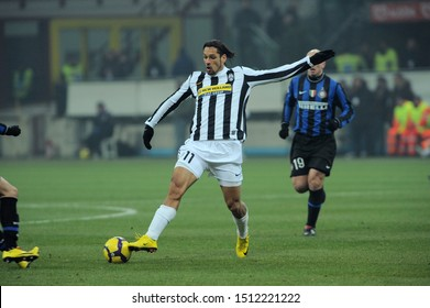 "Milan, 28 January 2010, Stadium ""G.MEAZZA SAN SIRO"", Football Championship  Italy Cup 2009/2010, FC Inter - FC Juventus: Amauri in action during the match"