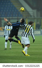 "Milan, 28 January 2010, Stadium ""G.MEAZZA SAN SIRO"", Football Championship  Italy Cup 2009/2010, FC Inter - FC Juventus: Marco Materazzi and Amauri in action during the match"