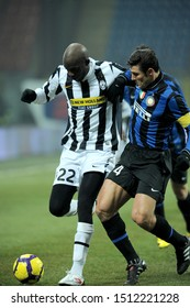 "Milan, 28 January 2010, Stadium ""G.MEAZZA SAN SIRO"", Football Championship  Italy Cup 2009/2010, FC Inter - FC Juventus:  Mohamed Sissoko and Javier Zanetti in action during the match"