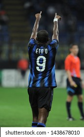 "Milan  Italy, 29 September 2010,"" SAN SIRO""  Stadium, UEFA Champions League 2010/2011 ,FC Inter - FC Werder Bremen : Samuel Eto'o celebrates after the goal"