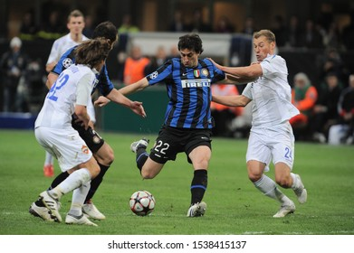 """Milan Italy, 31 March 2010,"""" G.Meazza"""" Stadium, UEFA Champions League 2009/2010 ,FCInter - CSKA Mosca : Diego Milito in action during the match"""