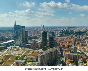 Milan aerial view. Milano city, Italy. Modern buildings view