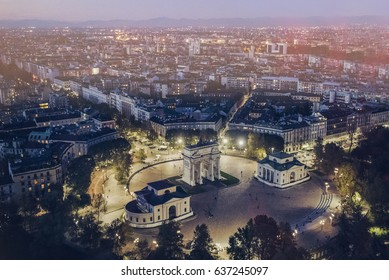 Milan aerial view at night