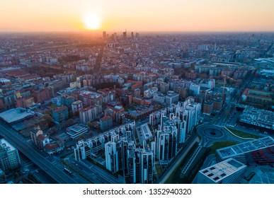 Milan aerial view. Skyline at sunrise.