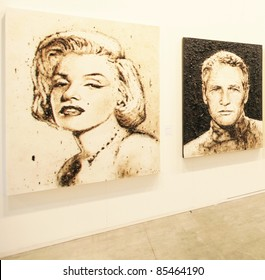 MILAN - APRIL 08: Painting and sculpture galleries on display during MiArt, international exhibition of modern and contemporary art on April 08, 2011 in Milan, Italy
