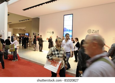 MILAN - APRIL 13: People at the entrance of Salone del Mobile, international furnishing accessories exhibition on April 13, 2011 in Milan, Italy.