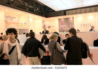 MILAN - APRIL 15: People visit Salone del Mobile, international furnishing accessories exhibition April 15, 2010 in Milan, Italy.