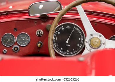 MILAN - APRIL 25: Dashboard of vintage car 1900 C52 DISCO VOLANTE at the Alfa Romeo museum on April, 2017 in Milan, Italy