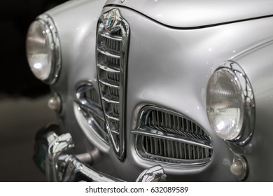MILAN - APRIL 25: Front of vintage car GIULIETTA SPRINT at the Alfa Romeo museum on April, 2017 in Milan, Italy