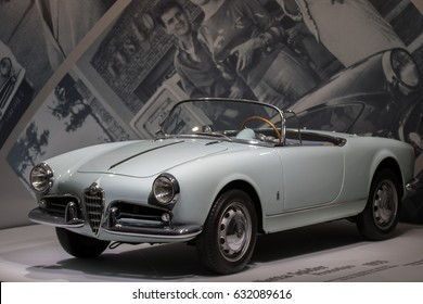 MILAN - APRIL 25: Vintage car GIULIETTA SPIDER PROTOTIPO at the Alfa Romeo museum on April, 2017 in Milan, Italy
