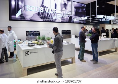 MILAN - APRIL 9: Electrolux stand during Salone Internazionale del Mobile, Furniture Fair on April 9, 2014 in Milan.