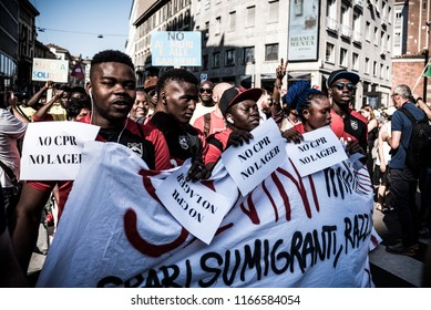 Milan, august 28, 2018: protest in Milan against Matteo Salvini and his policy on immigration during the meeting between the italian interior minister and the Hungarian Prime minister Viktor Orban.