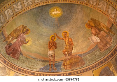 Milan - Baptism of Christ - relief from San Agostino