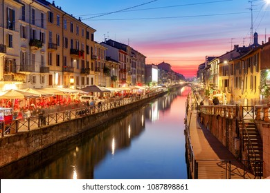 Milan. Canal Naviglio Grande at sunset.