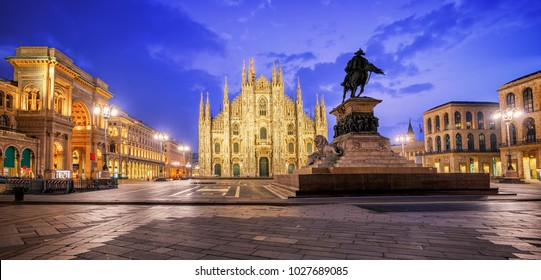 Milan Cathedral, Duomo di Milano, one of the largest churches in the world, on Piazza Duomo square in the Milan city center, Italy, on sunrise