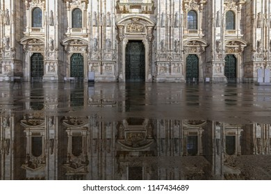 Milan Cathedral, Duomo di Milano, one of the largest churches in the world, at night on Piazza Duomo square in the Milan city center in Italy.