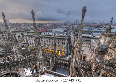 Milan Cathedral, Duomo di Milano, one of the largest churches in the world, on Piazza Duomo square in the Milan city center in Italy.