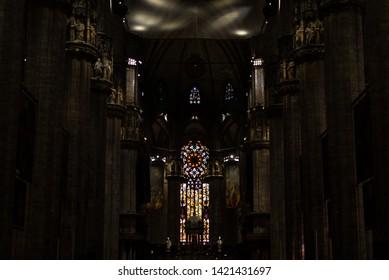 Milan Cathedral, Duomo di Milano, inside view. October 5, 2018. Milan, Italy.