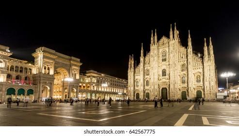 Milan Cathedral (Duomo di Milano) and Galleria Vittorio Emanuele II, Italy. Night view.