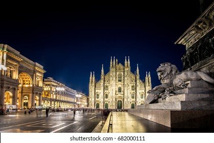 Milan Cathedral, Piazza del Duomo at night, Lombardia, Italy