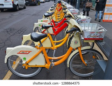 MILAN CIRCA DECEMBER 2018. Bike Mi, a Bicycle share program in Milan Italy gives residents and tourists one more transportation option and reduces the consumption of fossil fuels.