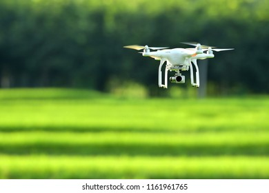 MILAN - CIRCA JULY 2018:Quadcopter drone flying, technology and surveillance concepts