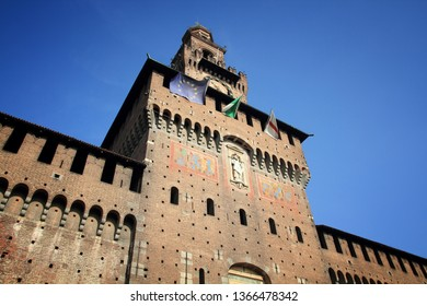 Milan city, Italy. Castello Sforzesco (Sforza Castle) - old landmark of Lombardy.