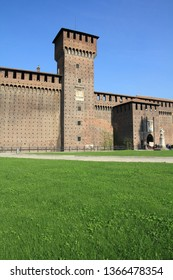 Milan city, Italy. Castello Sforzesco (Sforza Castle) - old landmark of Lombardy.