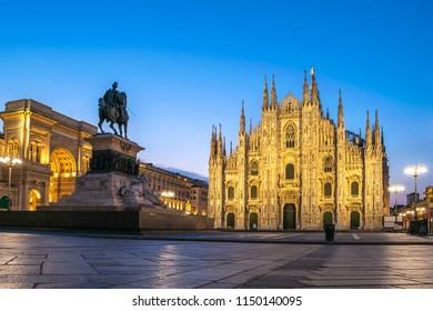 Milan city skyline sunrise at Milano Duomo Cathedral, Milan Italy
