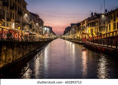 Milan city spirit Italy - sunset at Navigli