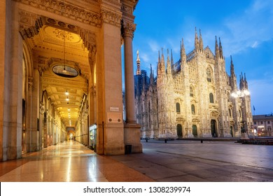 Milan city, view of the gothic Duomo Cathedral and Galleria Vittorio Emanuele II  shopping mall on an early morning, Italy. Milan is famous for both its culture and shopping.