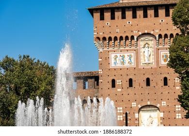 Milan. Closeup of the main facade of the Sforza Castle (Castello Sforzesco, 15th century), Piazza Castello, Lombardy, Italy, Europe.