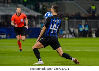 MILAN - DEC 11, 2018: Ivan Perisic 44 gets a ball. FC Internazionale - PSV Eindhoven. UEFA Champions League. Giuseppe Meazza stadium.