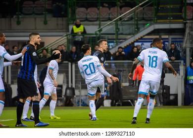 MILAN - DEC 11, 2018: Trent Sainsbury 20. FC Internazionale - PSV Eindhoven. UEFA Champions League. Giuseppe Meazza stadium.